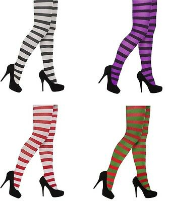 ladies Striped Tights Fancy Dress red - white - purple- green stripe.