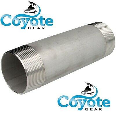 """1//4/"""" NPT x 6/"""" Long 304 Stainless Steel Pipe Nipple Coyote Gear SS S//40 Threaded"""