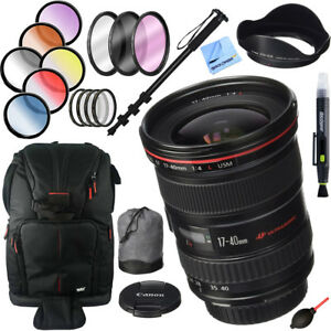 Canon EF 17-40mm F/4 L USM Lens + 77mm Filter Sets and Accessories Kit