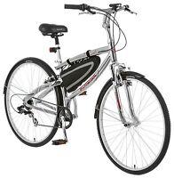 Schwinn Skyliner 700c Hybrid Bike Free front/rear lights & bar bag (Silver/Red)