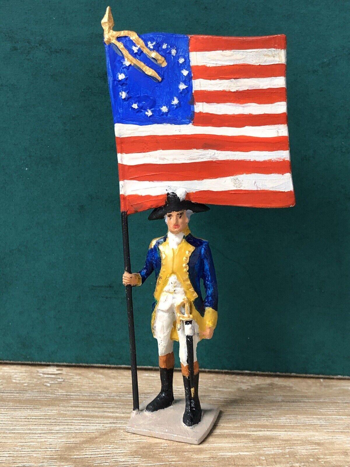 Grünunni  Selten Amerikanische Fahnenträger, 1776. 54mm Solid Kabel Figur