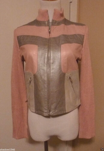 Knit Nwot silver Sleeves Size Lucidity Pink collar Light Leather Jacket Medium ggHPwpq