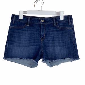 Levi's Cut Off Dark Wash Stretch Denim Mid Rise Jean Shorts Size 12 EUC Raw Hem
