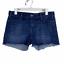 thumbnail 1 - Levi's Cut Off Dark Wash Stretch Denim Mid Rise Jean Shorts Size 12 EUC Raw Hem