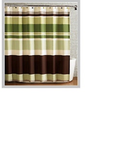 spring Home Fabric Shower Curtain,multi-color Printed Striped Green Coffee