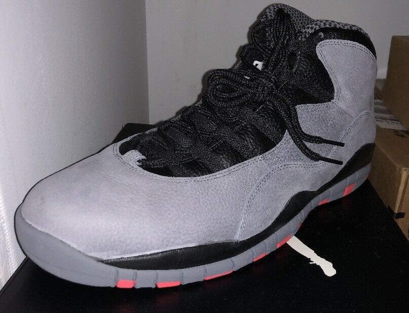 New Nike Air Jordan 10 Infrared Cool Grey X Uomo 310805-023 Size 17