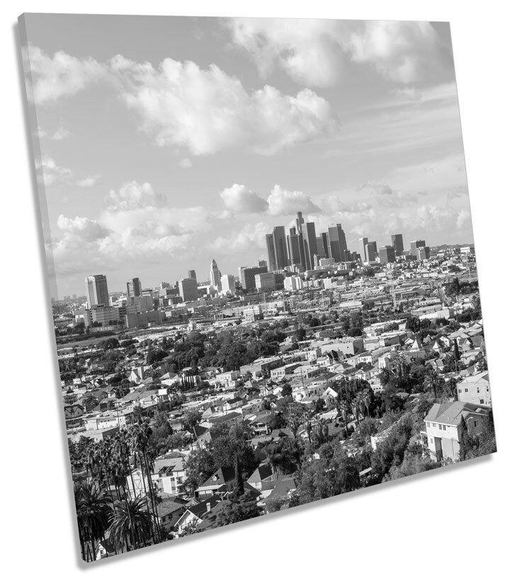 Los Angeles City Skyline Quadrato BOX incorniciato tela Art Print