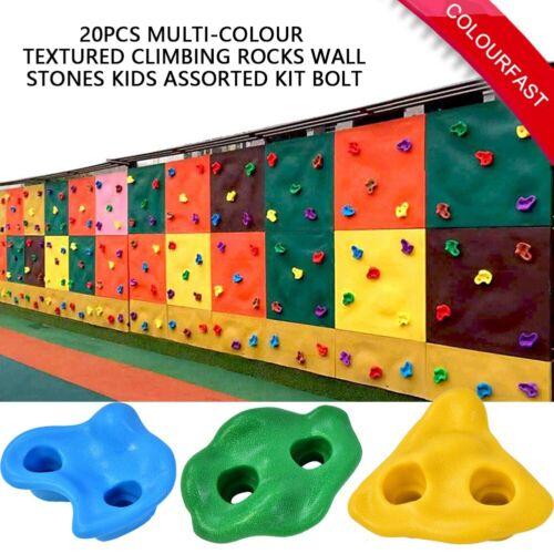 20Pcs Kids Rock Climbing Wall Stones Holds Hand Feet Starter Grip Rock Holder