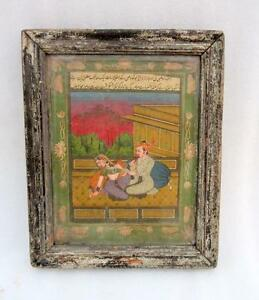 Antique-Old-Rare-Mughal-King-Queen-With-Urdu-Written-Fine-Art-Miniature-Painting