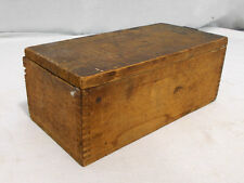 Small Primitive Antique Vintage Wood Hinged Box W/ Finger Joints Tools Jewelry