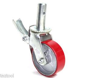 4-pcs-Scaffold-6-034-X-2-034-Polyurethane-Caster-Wheel-Solid-Rim-Heavy-Duty-with-Bakes