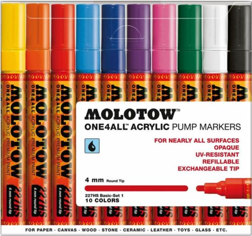 MOLOTOW ONE4ALL 227HS 10 PIECE DRAWING MARKER PEN SET BASIC SET 1