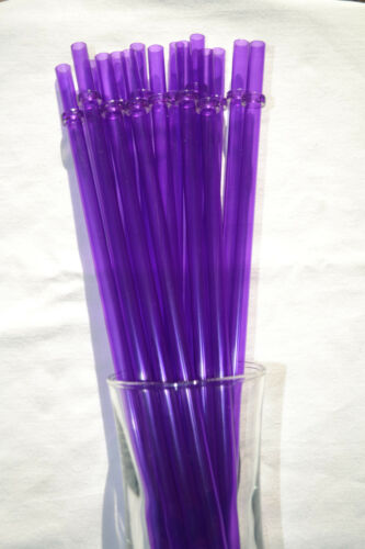 """Purple Solid Clear Acrylic Plastic Party Straws with Rings Reusable 9/"""" BPA Free"""