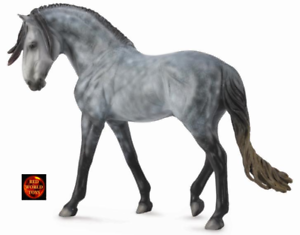 Analytique Pie Gris Andalou Stallion Deluxe 1:12 Scale Cheval Jouet Modèle Collecta 88631-afficher Le Titre D'origine