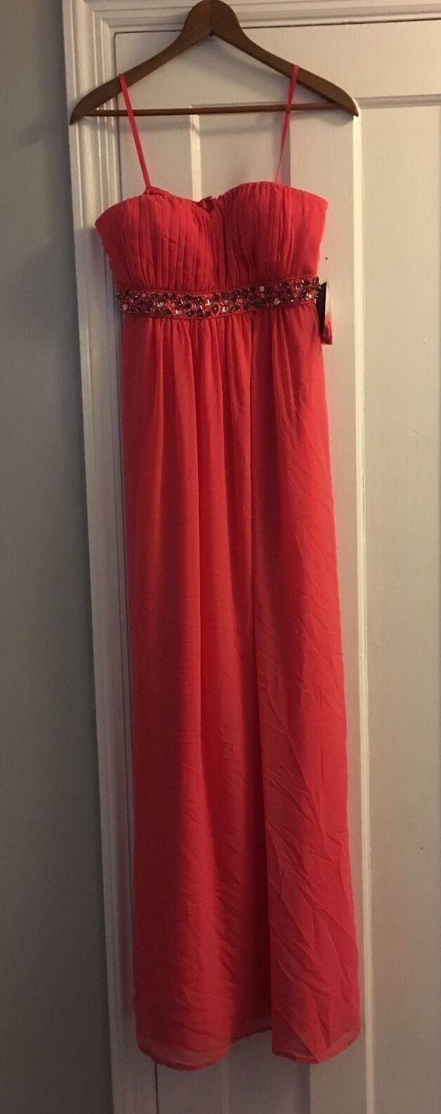 Jessica Simpson Sz 4 NEW w Tag Paradise Pink Formal Strapless Beaded Sexy Dress