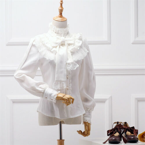 Vintage  Womens High Neck Ruffle Victorian Lace Long Sleeves Shirt Blouse Tops