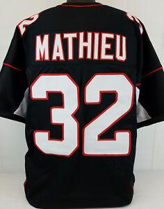 check out 8eb30 fbb7e Details about Tyrann Mathieu Unsigned Custom Sewn Black Football Jersey  Size - L, XL, 2XL