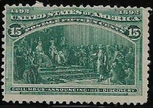 1893-SC-238-Mint-F-15c-dark-green-Columbus-H-NG-CV-225-00-43021