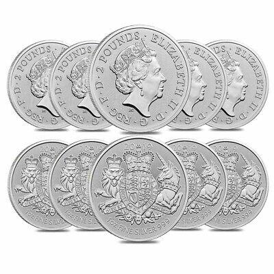 Lot of 10-2019 Great Britain 1 oz Silver Britannia Coin .999 Fine BU