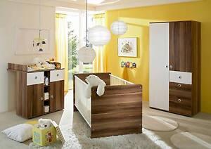 babyzimmer kinderzimmer babym bel komplett set wiki 1 in walnuss wei ebay. Black Bedroom Furniture Sets. Home Design Ideas