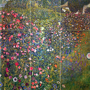 Art gustav klimt italian landscape ceramic mural for Crossing the shallows tile mural
