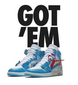 "f540bc4f26ce82 Air Jordan 1 Retro High OG X Off White ""UNC"" Size Men s 10.5 Virgil ..."