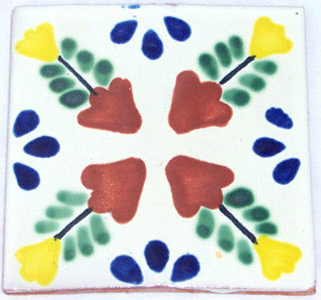 C090- Mexican Handmade Talavera Clay Tile Folk Art 4x4
