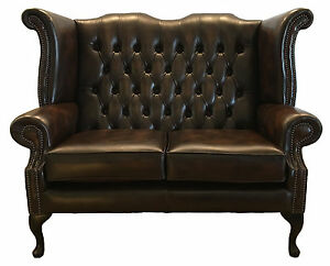 Details About Antique Brown Chesterfield Queen Anne Two Seater Sofa Genuine Leather Uk Made