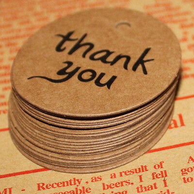 100Pcs Thank You Wedding Brown Kraft Paper Tag Favor Gift Tags Candy Box Tags