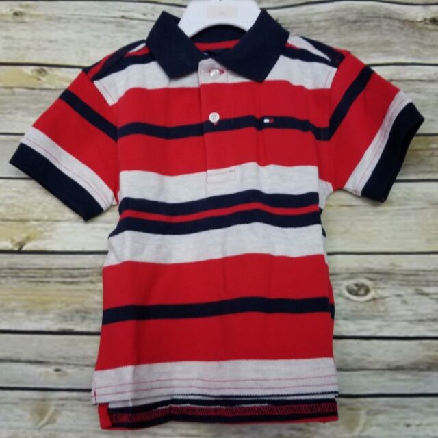 6948bc7ab062 Tommy Hilfiger Boy s Polo Rugby Shirt 18 Months Red Navy Blue Gray Striped  NWT