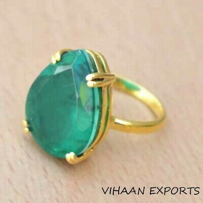 925 Sterling Silver Natural Colombian Emerald Oval Pear Gold Fill Ring Gift