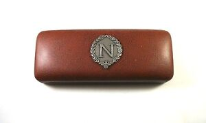 Napoleon-039-N-and-bee-039-Pewter-Motif-On-Brown-PU-Glasses-Case-History-Teacher-Gift