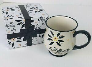 Temp-Tations Black Floral 16 oz Mug Cup Stoneware Ovenware w/ Gift Box by Tara