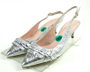 Kate-Spade-NWOB-Women-039-s-Slingback-Low-Heels-Shoes-Size-9-Silver-Made-In-Italy