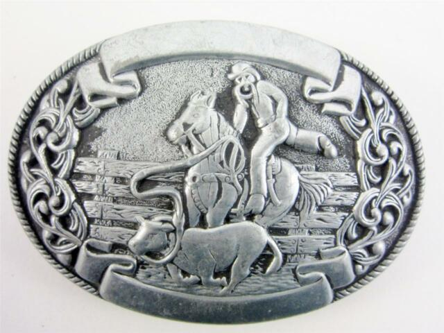 Belt Buckle Vintage Pewter Chamber Trophy Lasso Horse Rodeo Western Cowboy Lot B