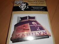 Parure De Lit Housse De Couette + Taies 2 Personnes marilyn Monroe - Neuve