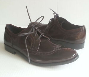 John Varvatos Men Size 8.5 Wingtip Brogues Brown Polished Leather Shoes