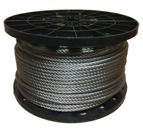 """1//8/"""" Stainless Steel Aircraft Cable Wire Rope 7x19 Type 316 250 Feet"""