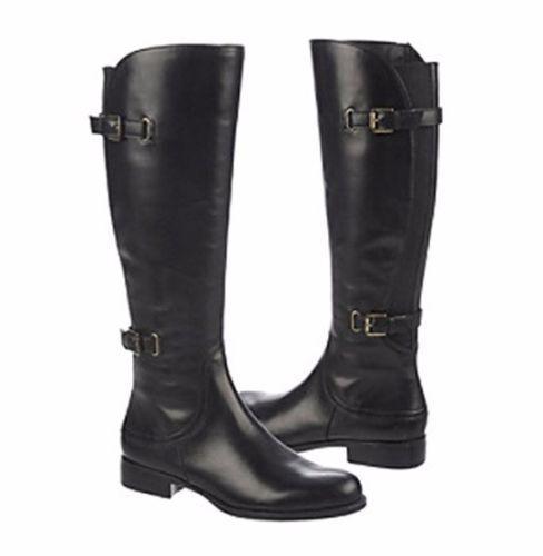 Naturalizer Jamison 8 botas Ecuestre de ancho de cuero negro de Becerro Nuevo