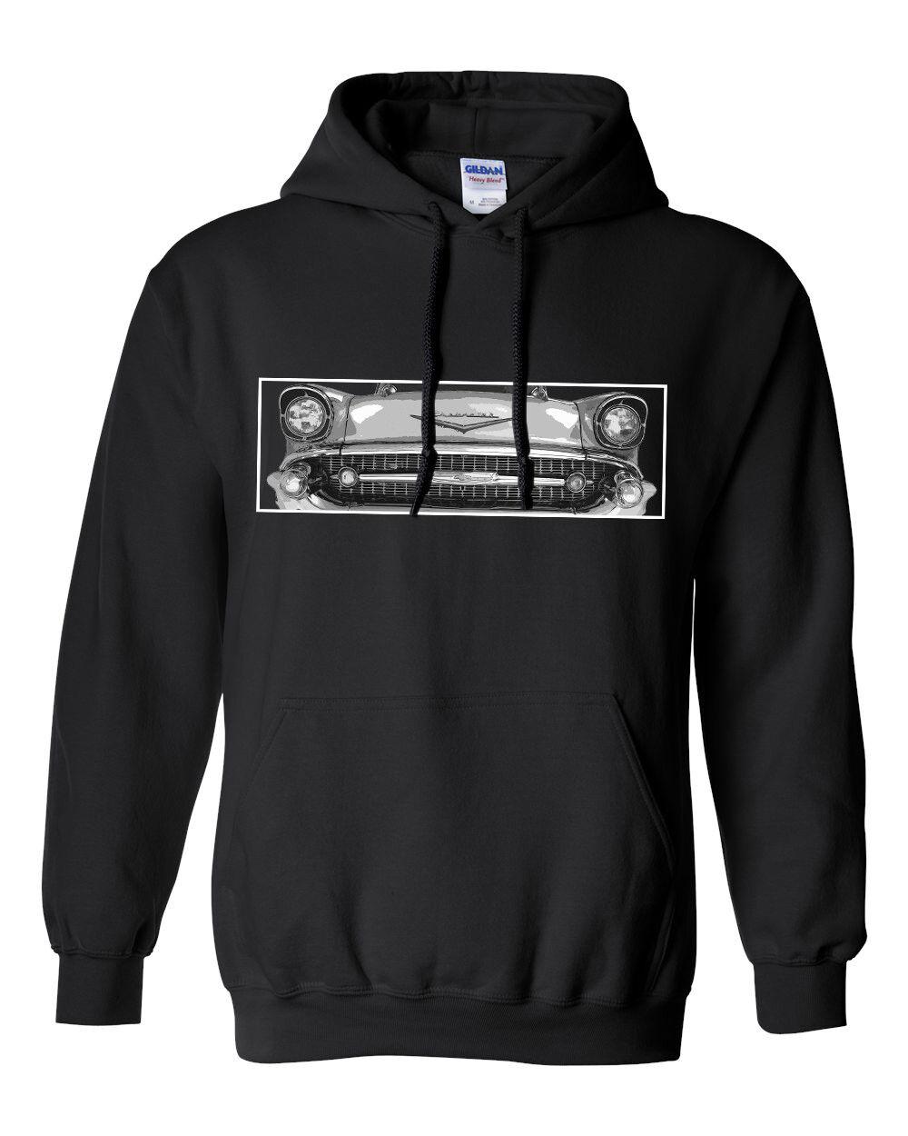 57 Chevy Bel Air Hoodie, 1957 Chevrolet Car Sweatshirt, Car Enthusiast Apperal