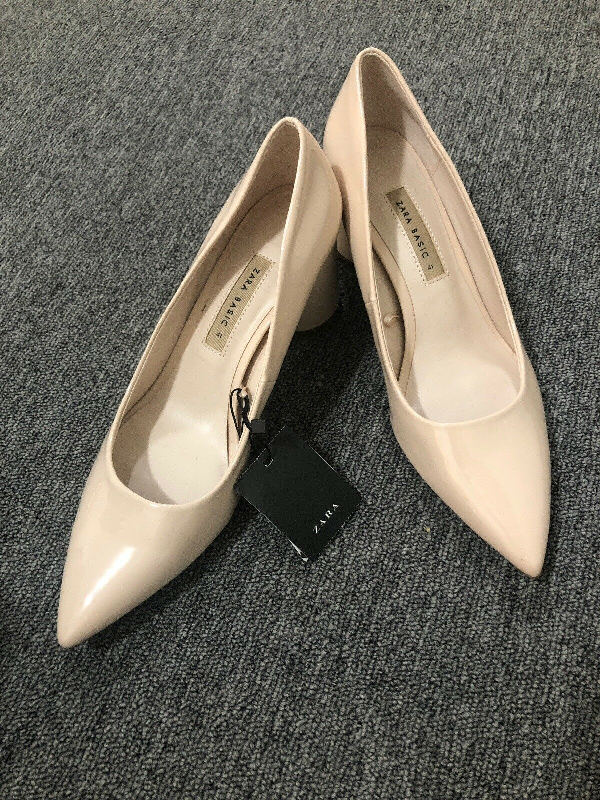 Zara Woman Nude Patent Pointed Toe Toe Toe Pumps Block Heels Size 10 NWT Prom Party b84164