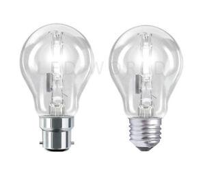 ES E27 SCREW HALOGEN ECO ENERGY SAVING CLEAR GLS LIGHT BULBS BC B22 BAYONET