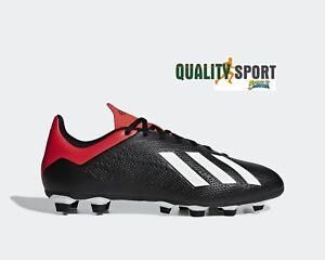 Adidas X 18.4 FG Nero Rosso Scarpe Uomo Calcio Soccer Shoes BB9375 ... fcb8a455b3f