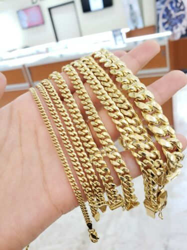 """Details about  /Miami Cuban Link Chain Bracelet Necklace 2MM-9MM 7/""""-30/"""" REAL 10k Yellow Gold"""