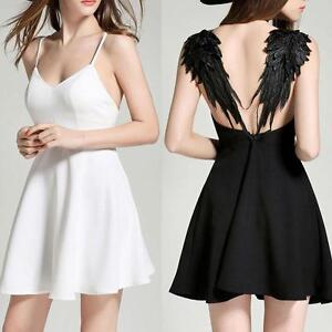 Womens-V-neck-Wings-Design-Backless-Evening-Party-Plunge-Cami-Mini-Dress-KZ-17