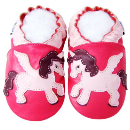 Gift Soft Sole Leather Girl Kid Toddler Infant UnicornFuchsia Baby Shoes 18-24M
