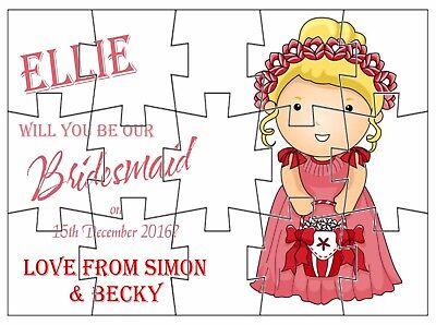 Personalised Sarai La Nostra Pagina Damigella D'onore? Puzzle Boy Flower Girl Anelli-mostra Il Titolo Originale