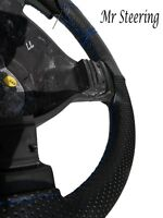 Black Perforated Leather Steering Wheel Cover Blue Stitching For Volvo F12 77-87