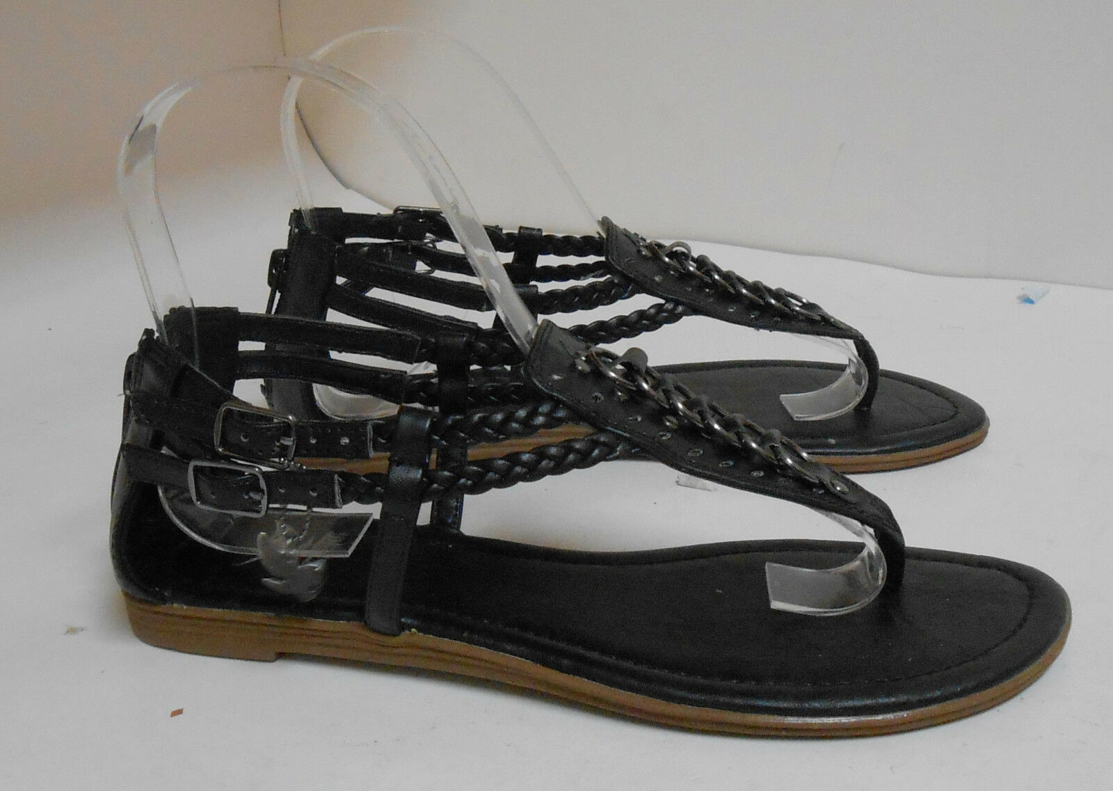 Summer Black Womens Shoes Size Roman Gladiator Sexy Flat Sandals Size Shoes 6 5096ed