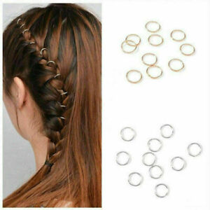 50-stuecke-Mode-Hip-Hop-Braid-Gold-Silber-Ring-Haarspange-Pin-Clips-Haarschm-R4F9